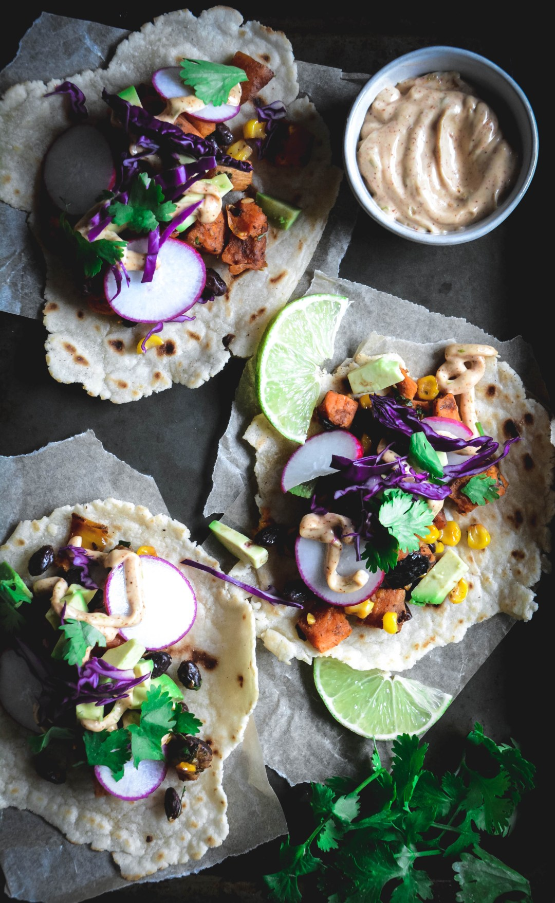 tacos with chipotle lime mayo
