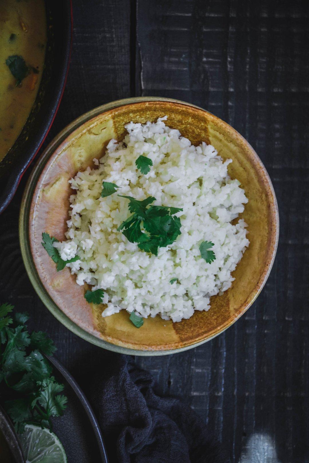 Cauliflower rice in bowl