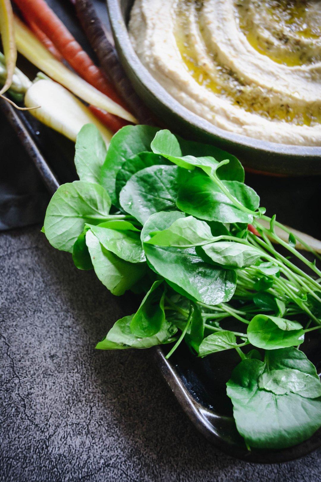 greens on tray