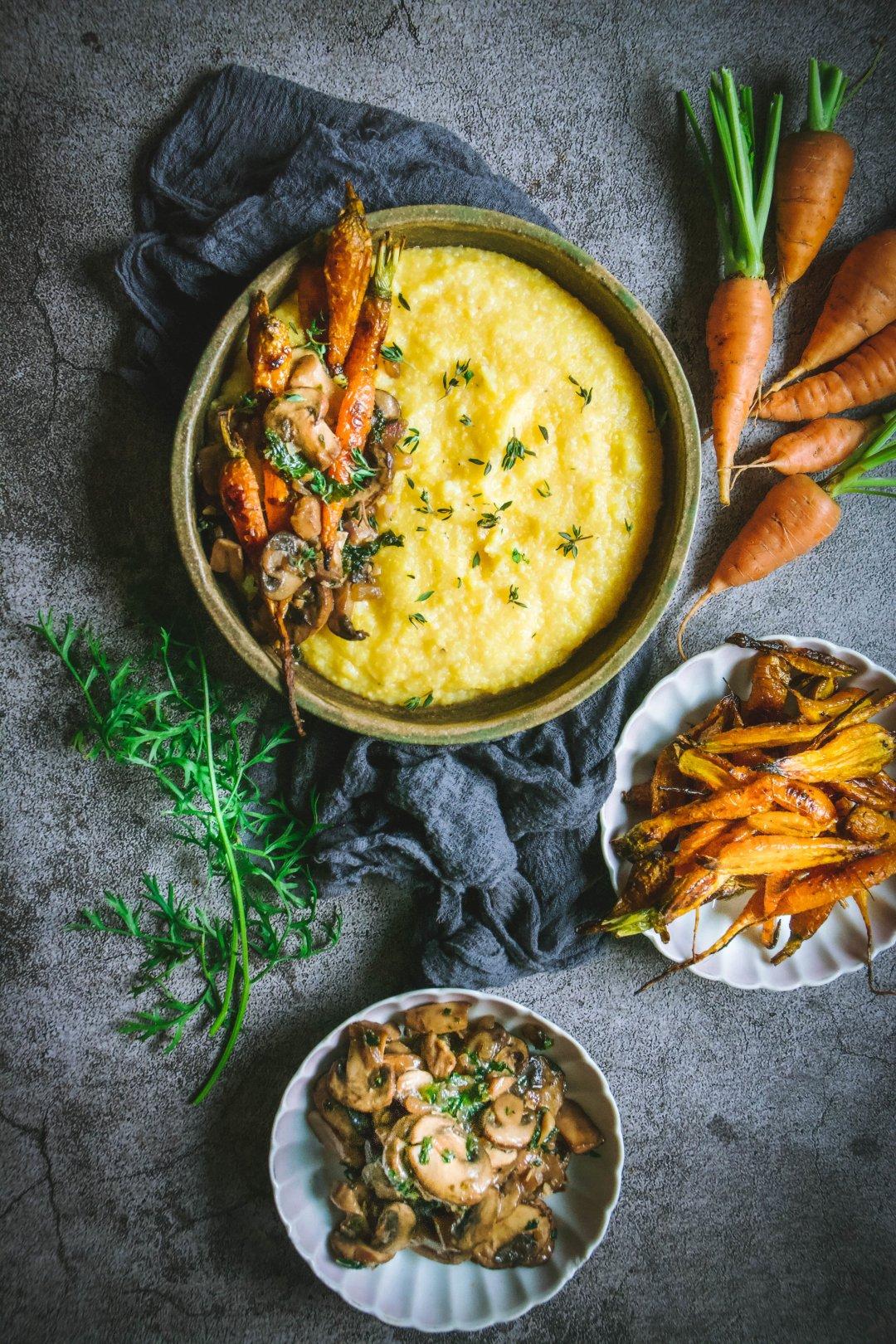 bowl of roasted carrots, roasted mushrooms and polenta