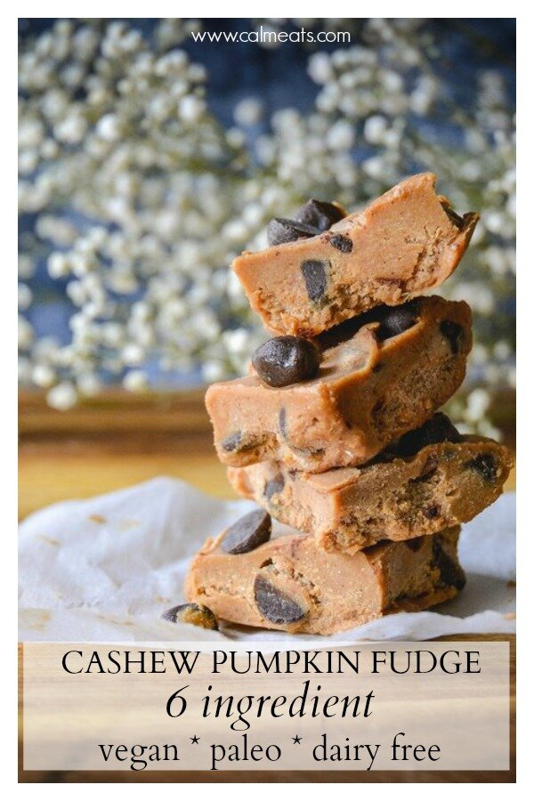 It's almost pumpkin season and I'm truly looking forward to it as I'm one of those people that gorges on all things pumpkin and then I'm good until next fall. To start things right, I make this super simple 5 ingredient pumpkin cashew fudge that's sure to satisfy your pumpkin cravings.   #vegan #pumpkin #pumpkinfudge #freezerfudge #paleofudge #falldesserts #calmeats #paleodesserts #vegan #vegandesserts #dairyfreedesserts #dairyfreefudge