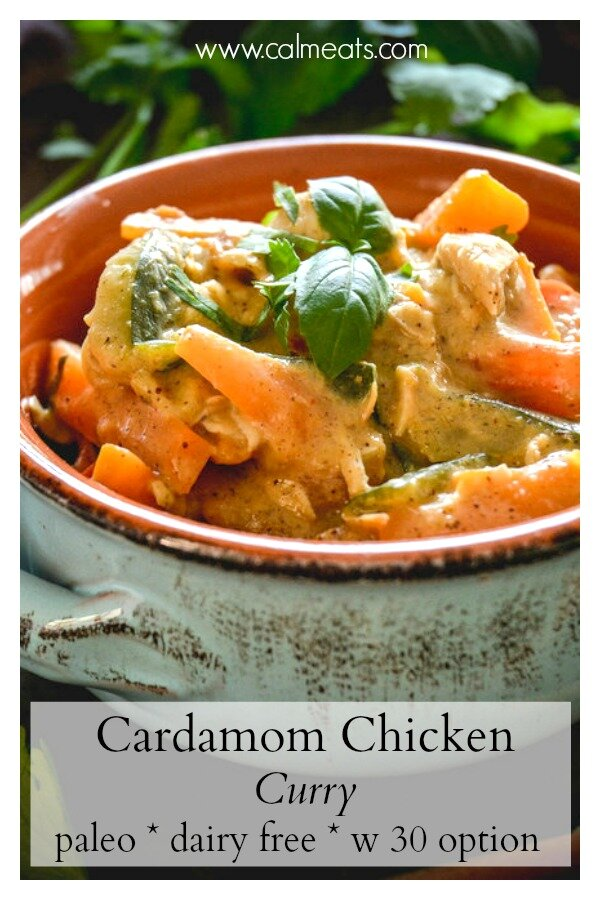 This is one of my all time favorite Thai curry recipes. This chicken curry is incredibly simple to make and can be whipped up in a little over half hour. A perfect weeknight meal that does not disappoint! #calmeats #thaicurry #thaichickencurry #curry #chickencurry #paleo #whole30 #dairyfree #paleo #paleocurry #cardaomcurry #cardamom