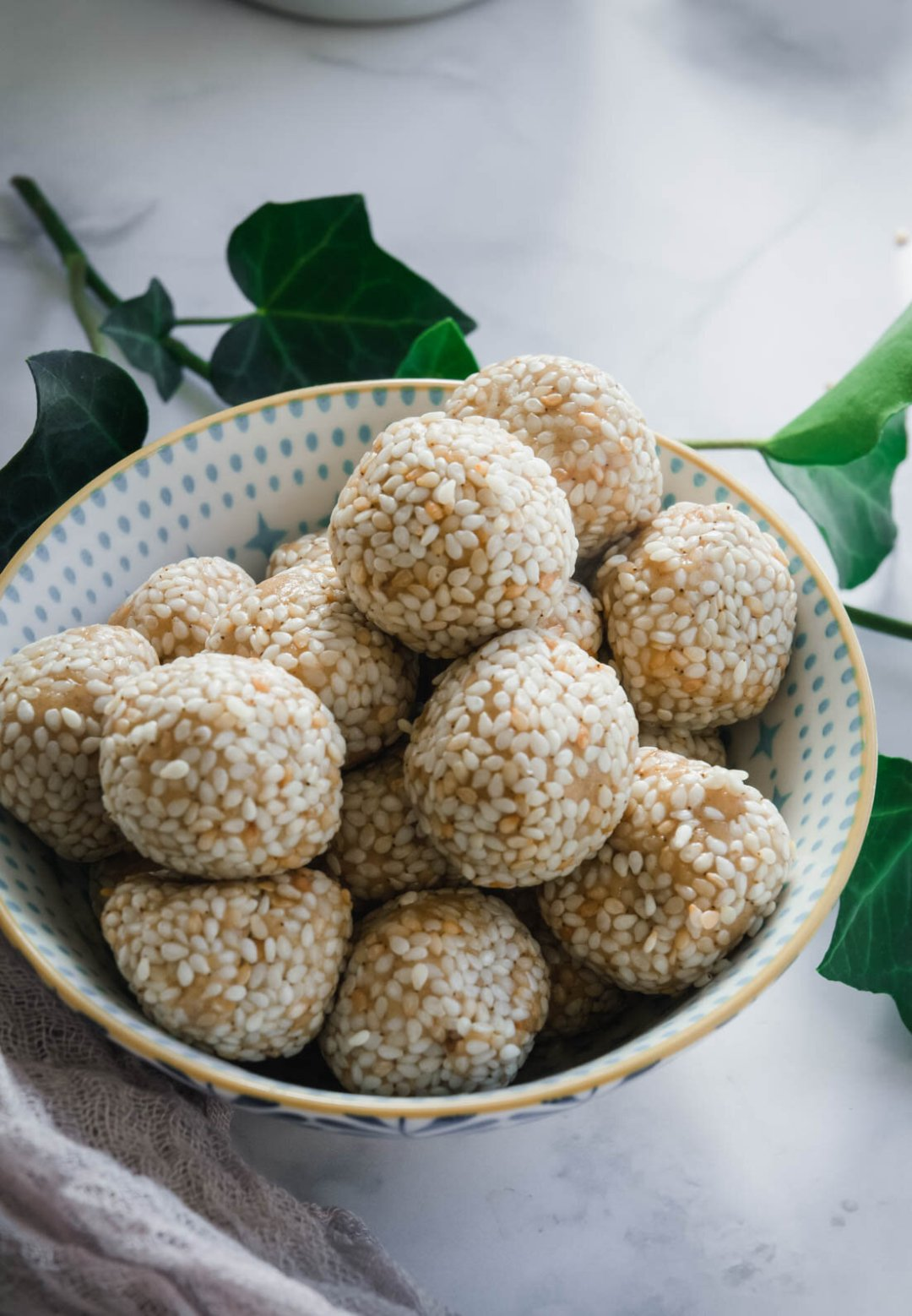 Peanut butter sesame balls in bowl