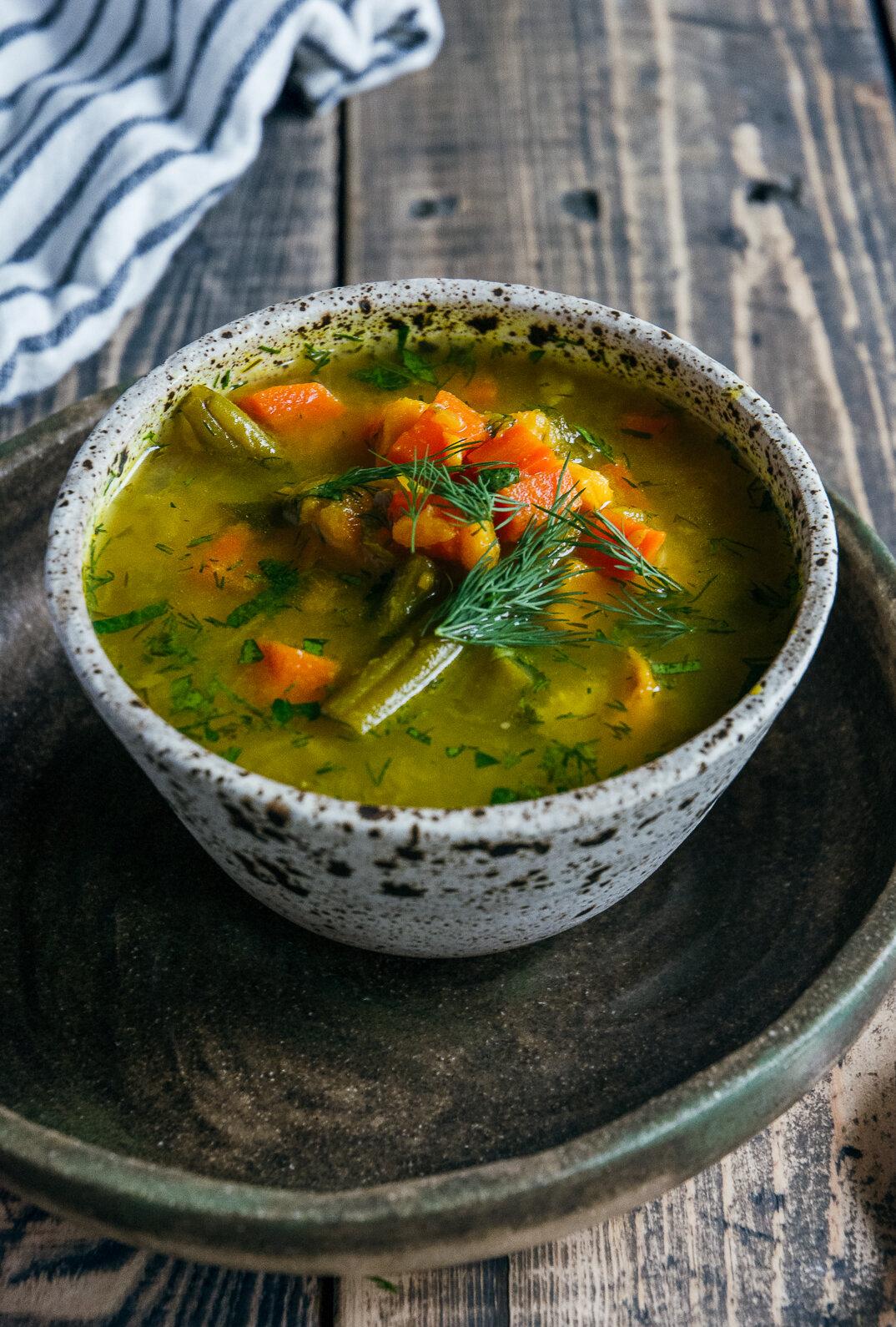 bone broth vegetable soup  on plate