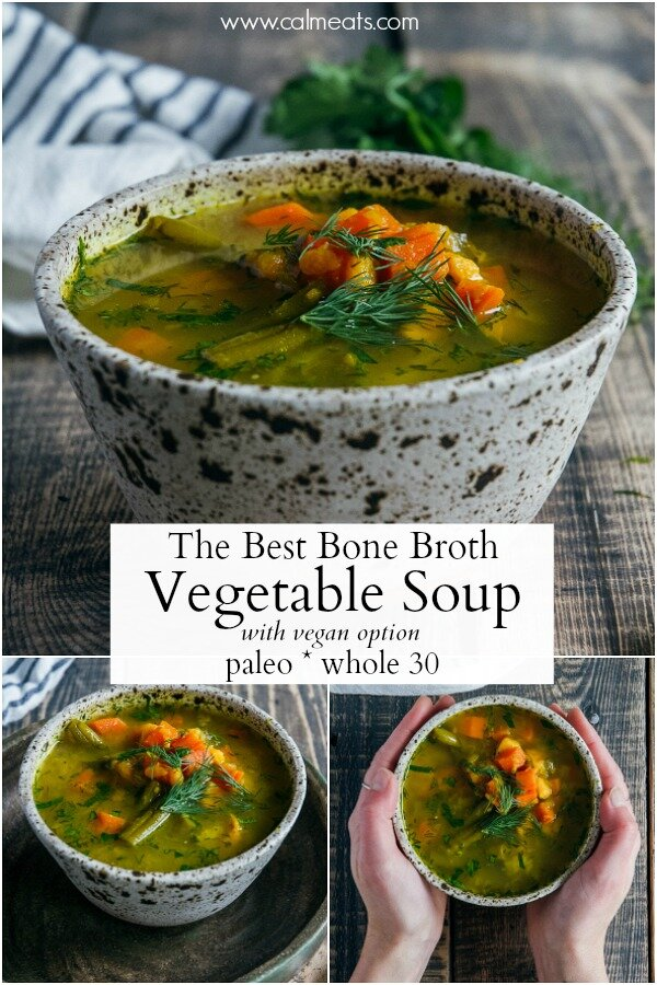 This gut healthy bone broth vegetable soup is perfect for a cold winter day or any time of the year. It's a nourishing soup loaded with vegetables, and full of protein from the delicious bone broth. If you're vegan, feel free to use vegetable broth instead. #soup, #bonebroth, #traditionalfood, #paleo, #whole30, #glutenfree, #dairyfree, #lunch #calmeats #bonebrothvegetablesoup #vegansoup #paleosoup #guthealth #guthealthyfood #guthealing #whole30 #realfood #nourishingfood