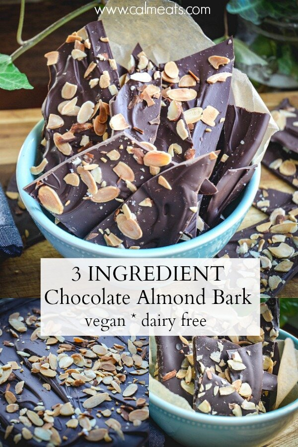 This is a speedy 3 ingredient chocolate bark that will take you minutes to prepare. It's delicious and allergy friendly. All you need are almond slices, chocolate chips and sea salt! It's irresistible!  #vegan #chocolate #paleo #chocolatebark #veganrecipe #cameats #dairyfreechocolate #vegandessert #dairyfree #veganchocolatebark #nobakedessert #chocolatealmond
