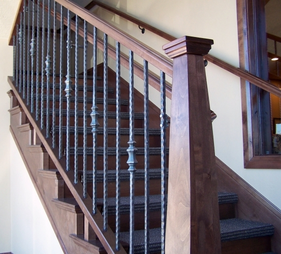 Wood Iron Baluster Combinations — Titan Architectural Products | Wood Handrail With Iron Balusters | Stairway | Wooden | Copper | Cast Iron | Landing
