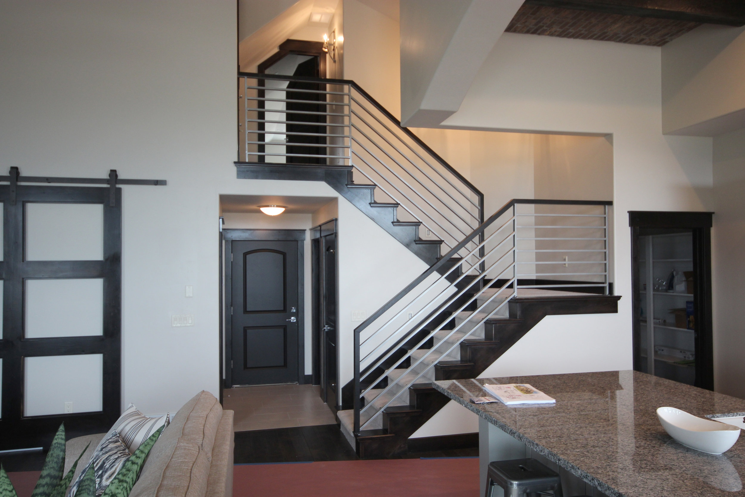 Titan Architectural Products Of Utah   Horizontal Wood Stair Railing   Wrought Iron   Cherry Wood   Steampunk   Rustic   Wooden