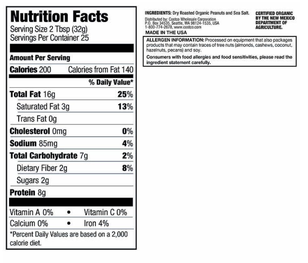 Kirkland Signature Peanut Butter Nutrition Facts Label