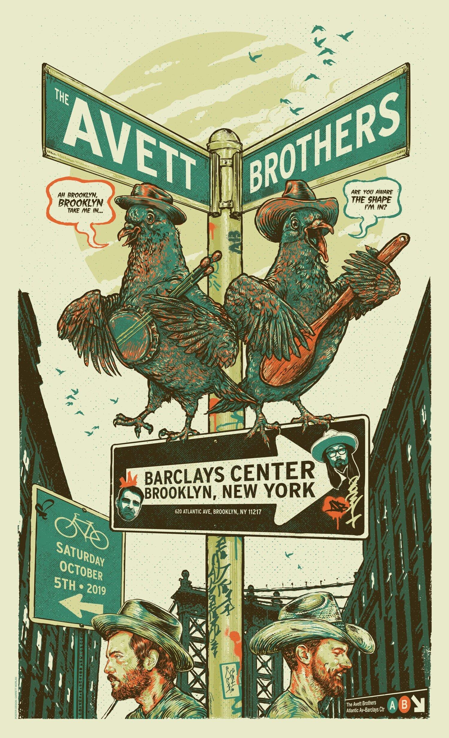 the avett brothers gig poster barclays ctr brooklyn ny 2019 garrett morlan