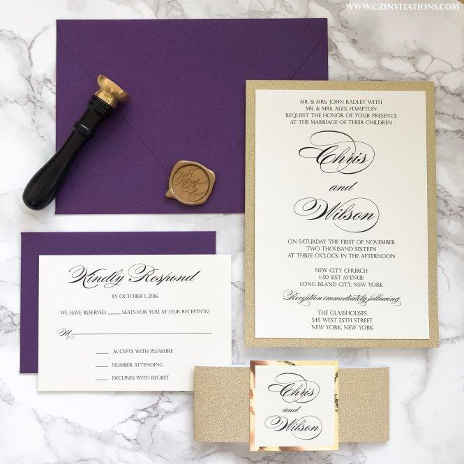 Gold Glitter Wedding Invitation With Plum Envelopes Cz Invitations