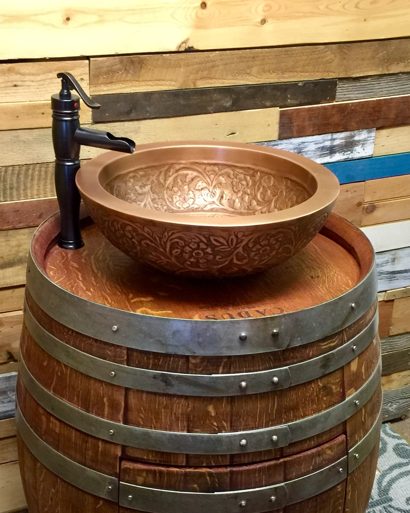 wine barrel copper sink vanity with double wall copper vessel sink and antique waterfall faucet top shelf barrel furniture bars llc