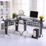Homcom Corner Computer Desk Black Mh Star