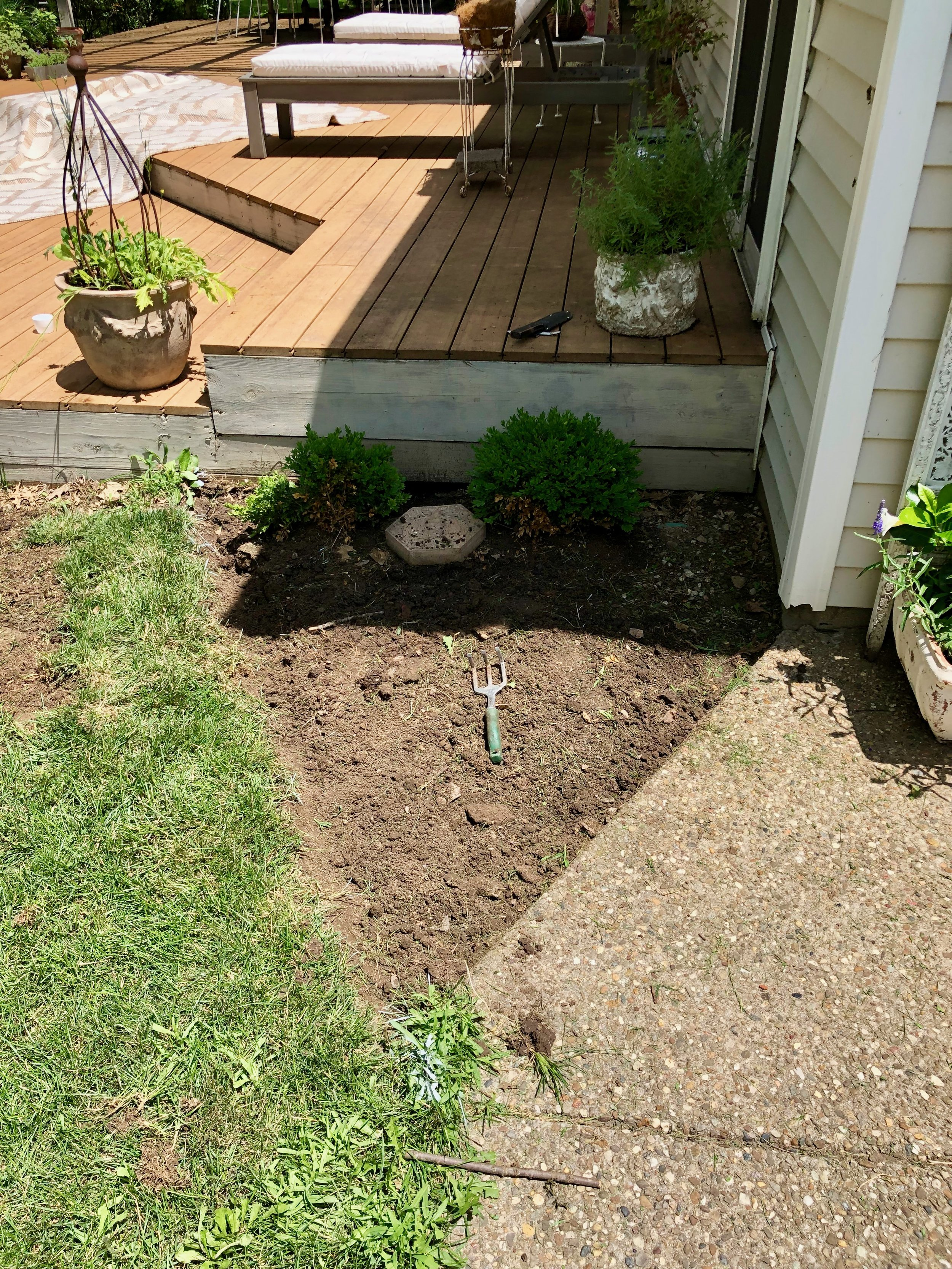 pea gravel patio project bees and