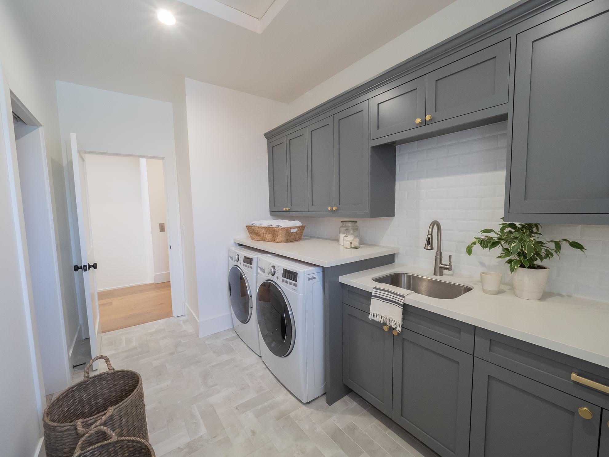 Deep Gray Laundry Room Shaker Cabinets — Tara Nelson Designs on Laundry Room Cabinets  id=46305