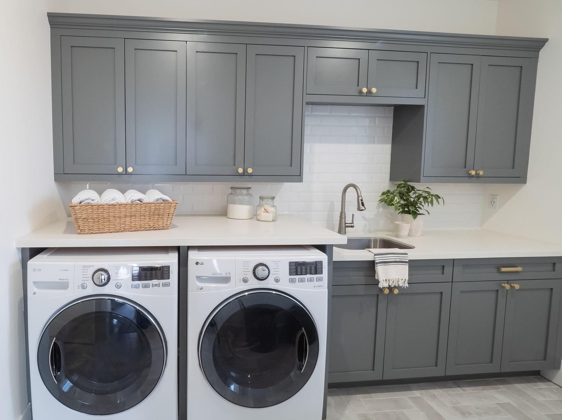 Deep Gray Laundry Room Shaker Cabinets — Tara Nelson Designs on Laundry Room Cabinets  id=53447