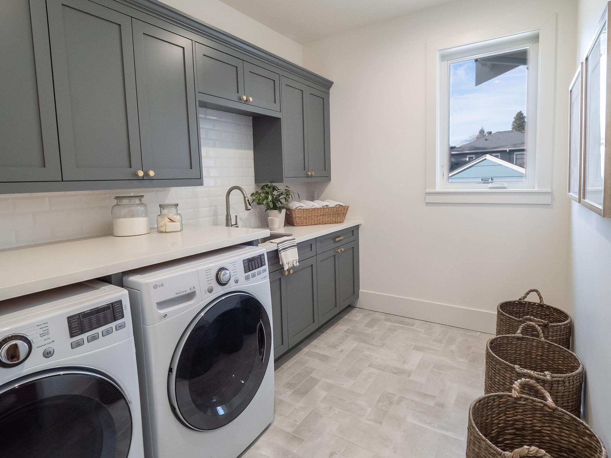 Deep Gray Laundry Room Shaker Cabinets — Tara Nelson Designs on Laundry Room Cabinets  id=57038