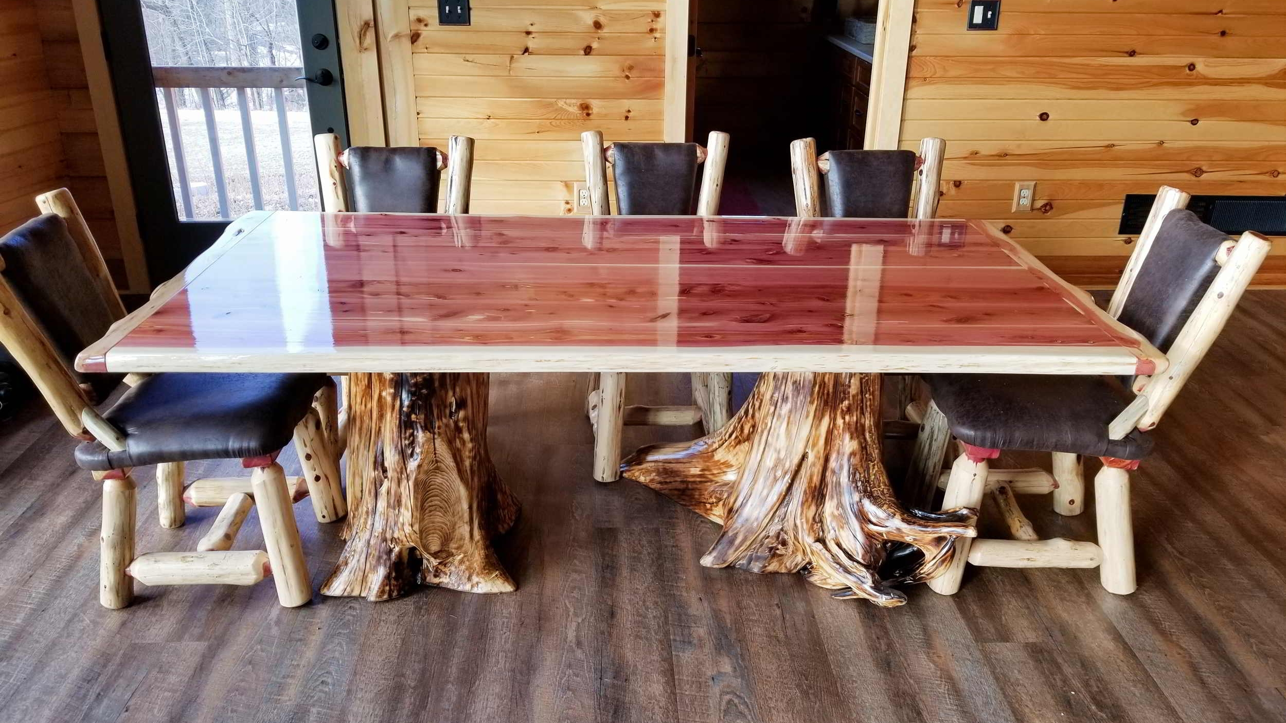red cedar table with stump base ez mountain rustic furniture