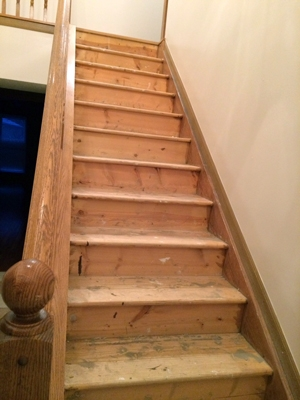 Diy Stair Makeover Carpet To Hardwood — Schooley Caldwell | Flooring For Stairs Not Carpet | Stair Tread | Stain | Staircase Makeover | Bullnose Carpet | Laminate Flooring