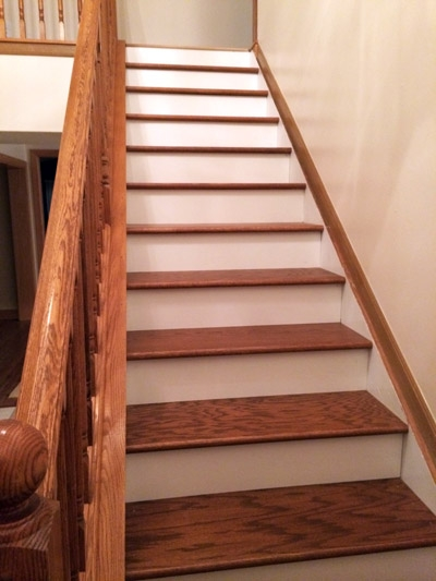 Diy Stair Makeover Carpet To Hardwood — Schooley Caldwell   Staining Stair Treads And Painted Risers   Open Stair Basement   4 Thick   Walnut   Design   Commercial Business