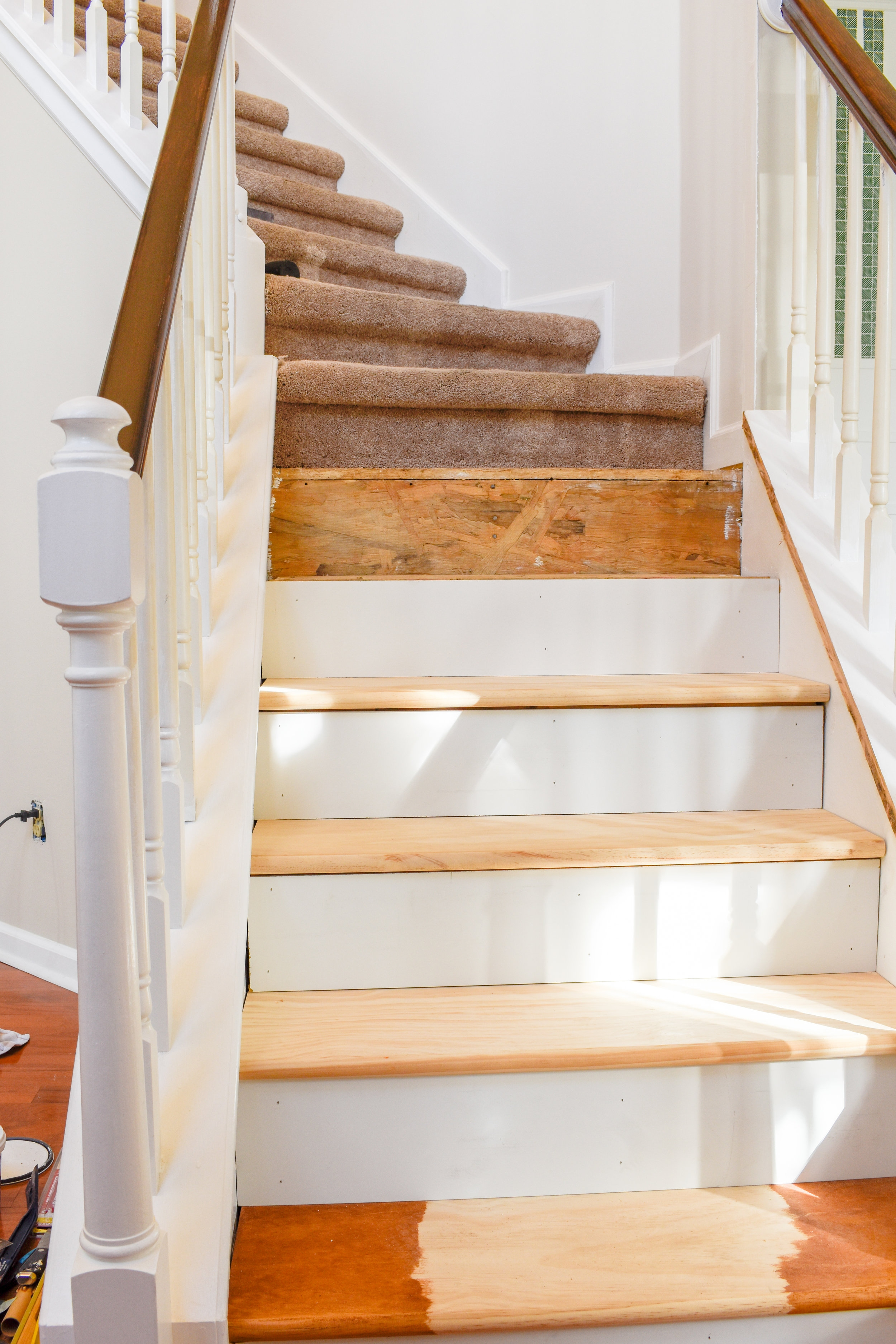 Diy Hardwood Staircase Makeover Replacing Carpet With Wood Treads | Cost To Have Stairs Carpeted | Wood | Stair Tread | Hardwood Flooring | Tile | Installation