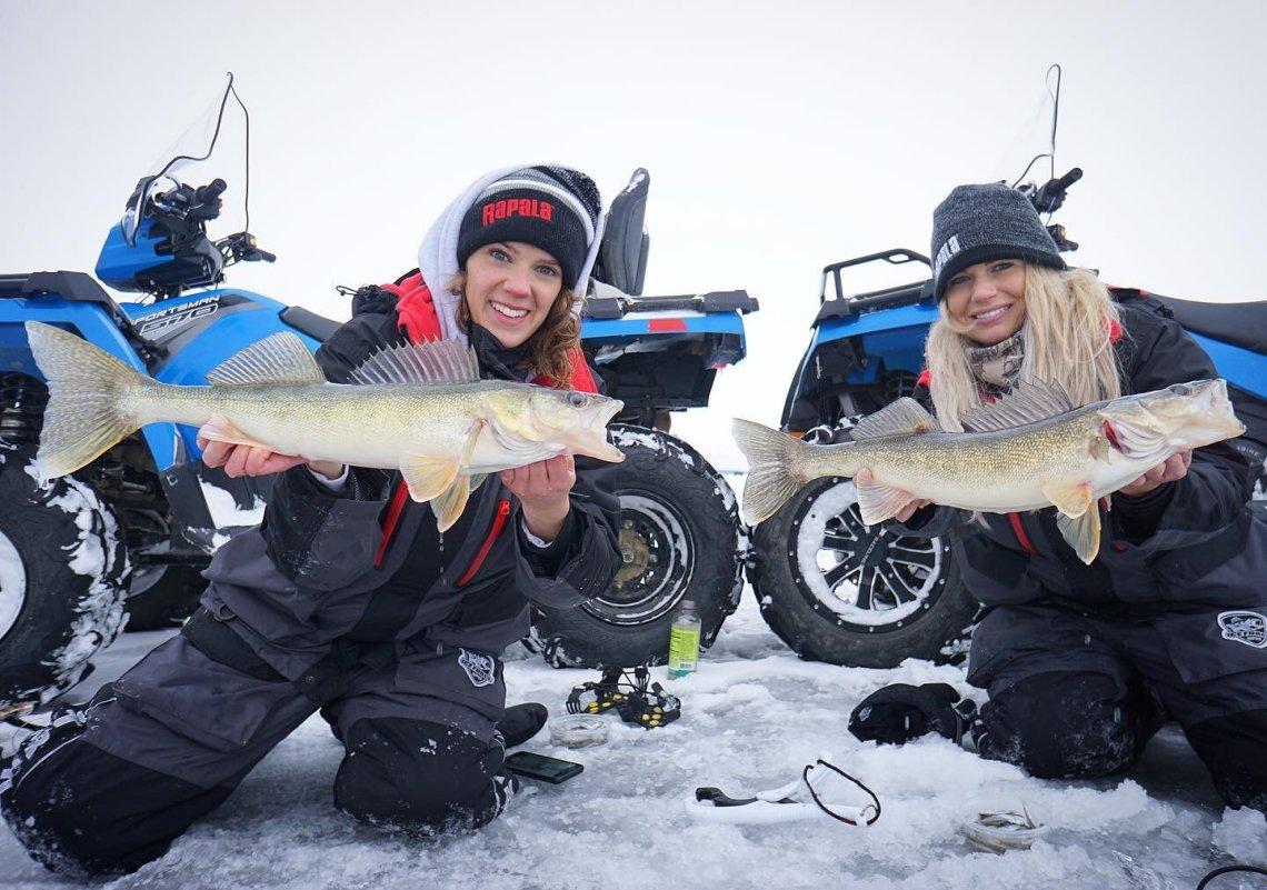Ana on Ice and Nicole Stone Outdoors Wekusko Falls Lodge Manitoba