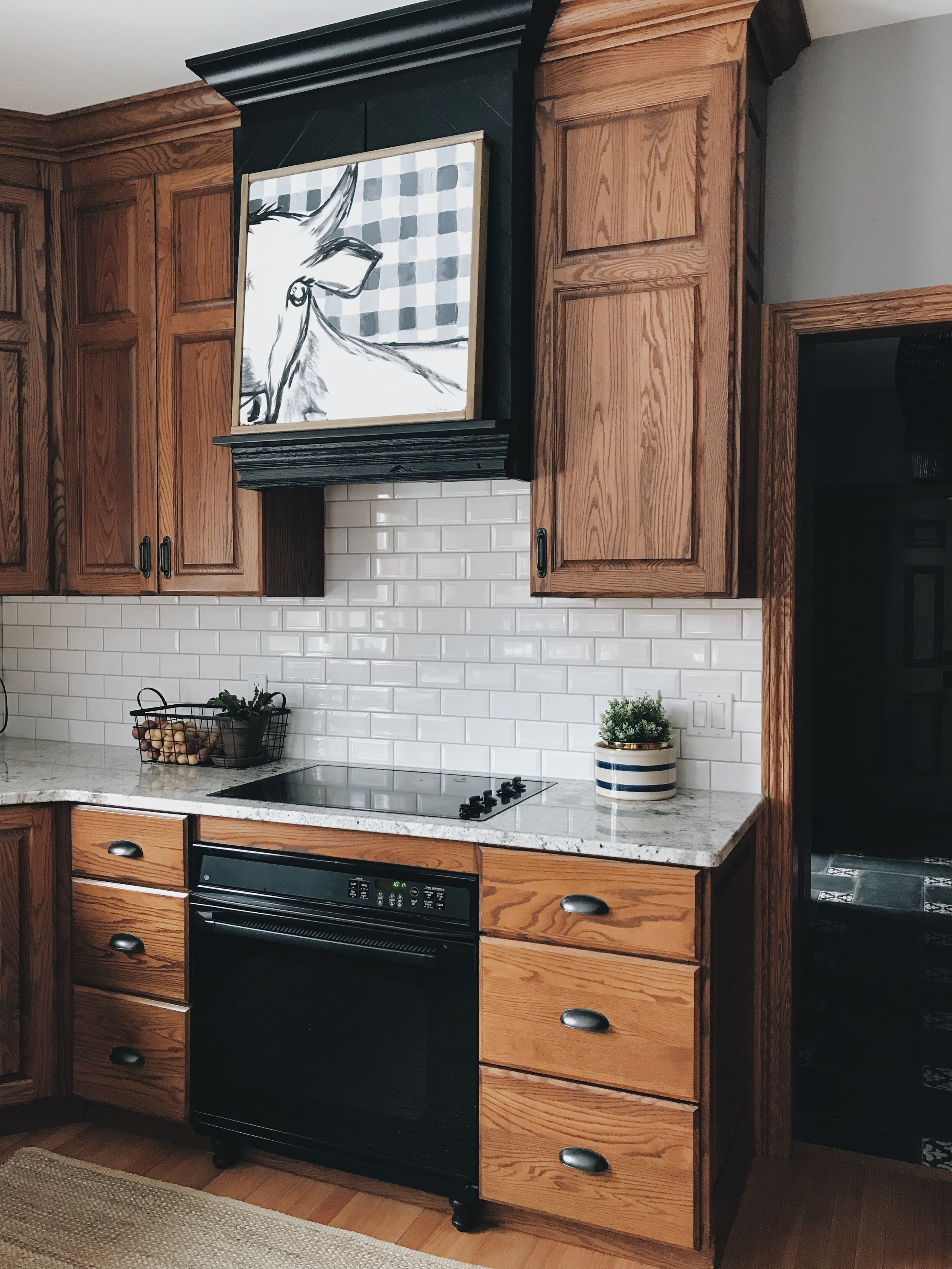 White Subway Tile And Oak Cabinets An Artist S Blog About Art Wallpaper Decor Margaritas And Everything You Ve Ever Wanted To Read Copper Corners
