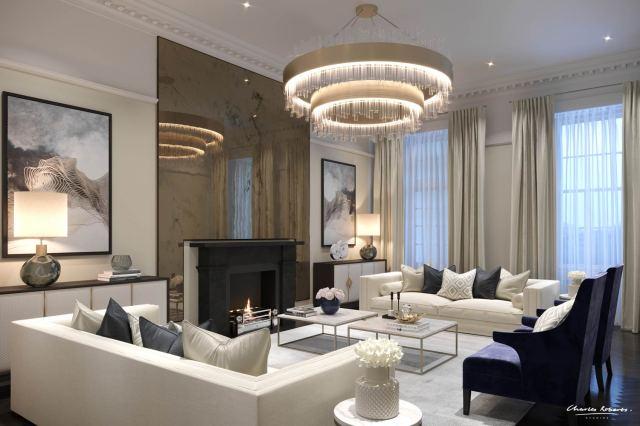 Artists impression luxury living room interior design ...