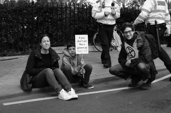 If you don't act like a grownup then I will. Extinction Rebellion, London, October 2019.