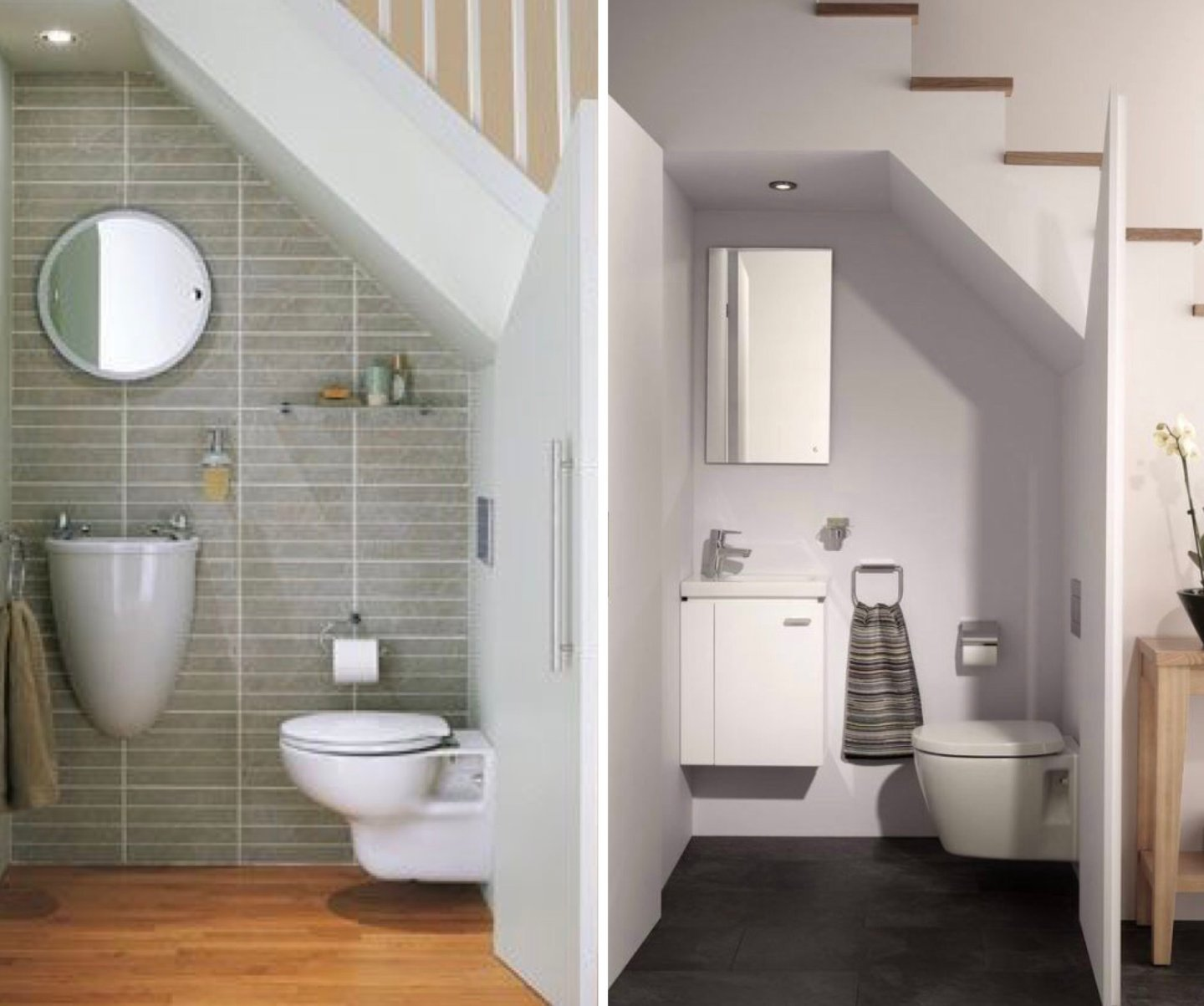 Toilet on the left -  www.gurudecor.com  Toilet on the right -  www.housebeautiful.com