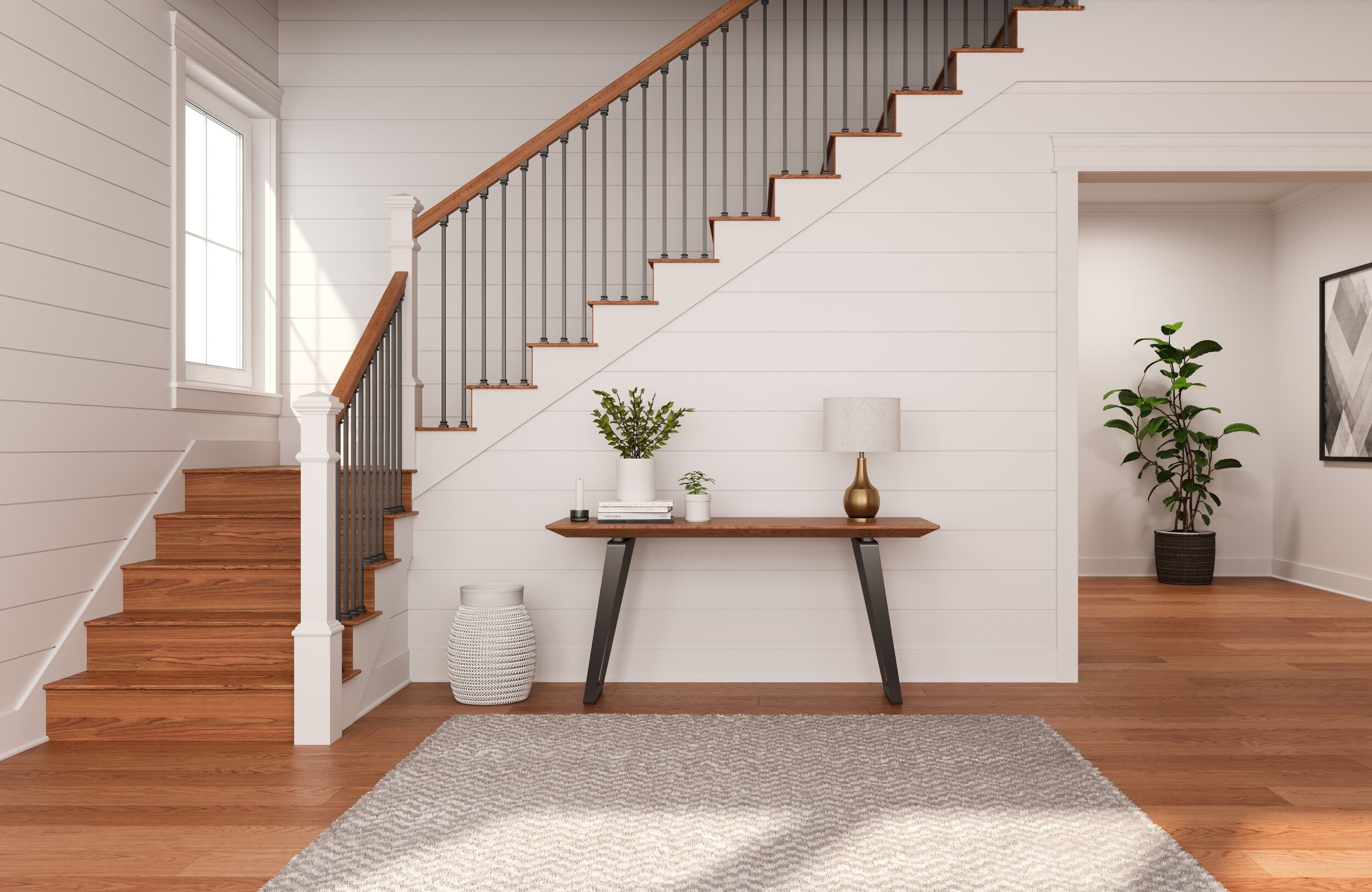 Reversible Stair Risers Ideal Diy Project — Ornamental Decorative   Stained Stairs And Risers   Two Tone   Natural   Bead Board   Gray Painted   Finished