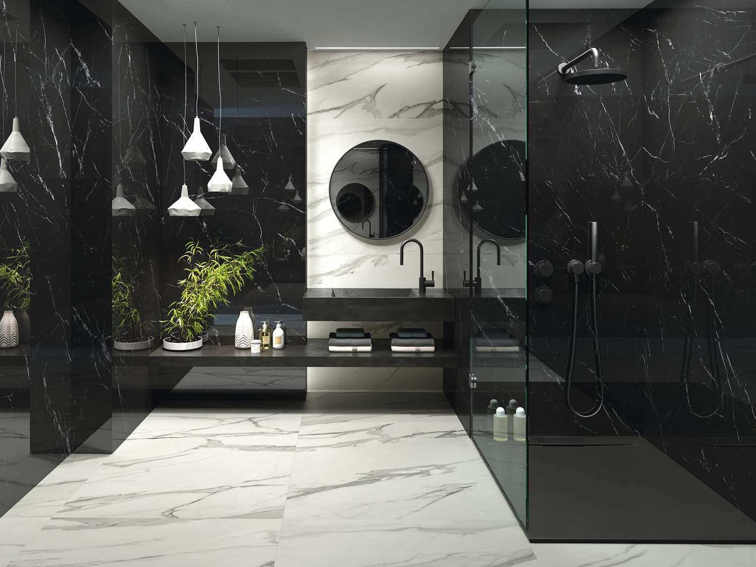 black and white marble effect tiles