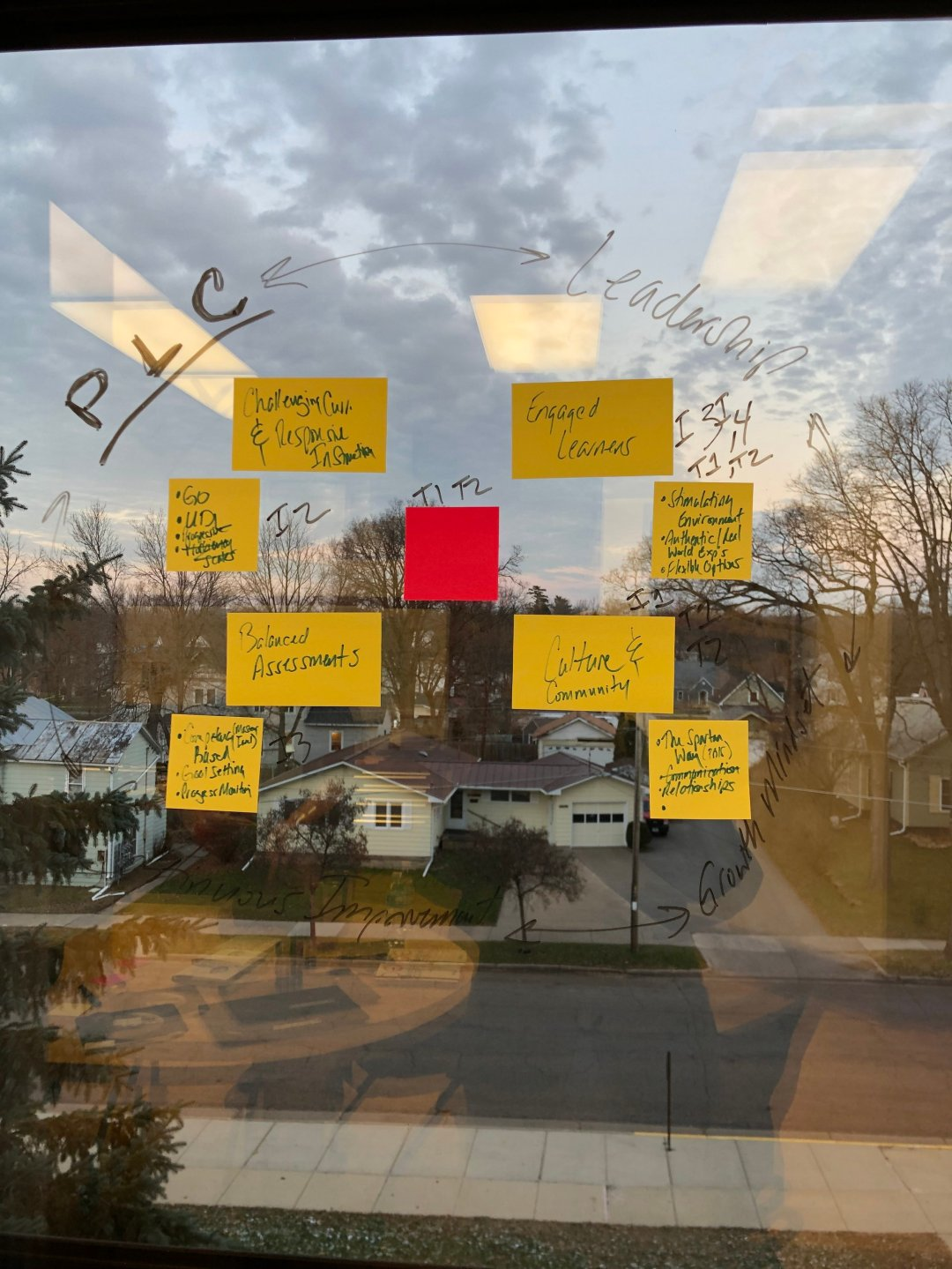 Windows became dry-erase boards during Sparta's instructional model strategy session.