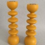 Michael Hosaluk Ochre Painted Wood Candleholders Pair Hand Wave Gallery