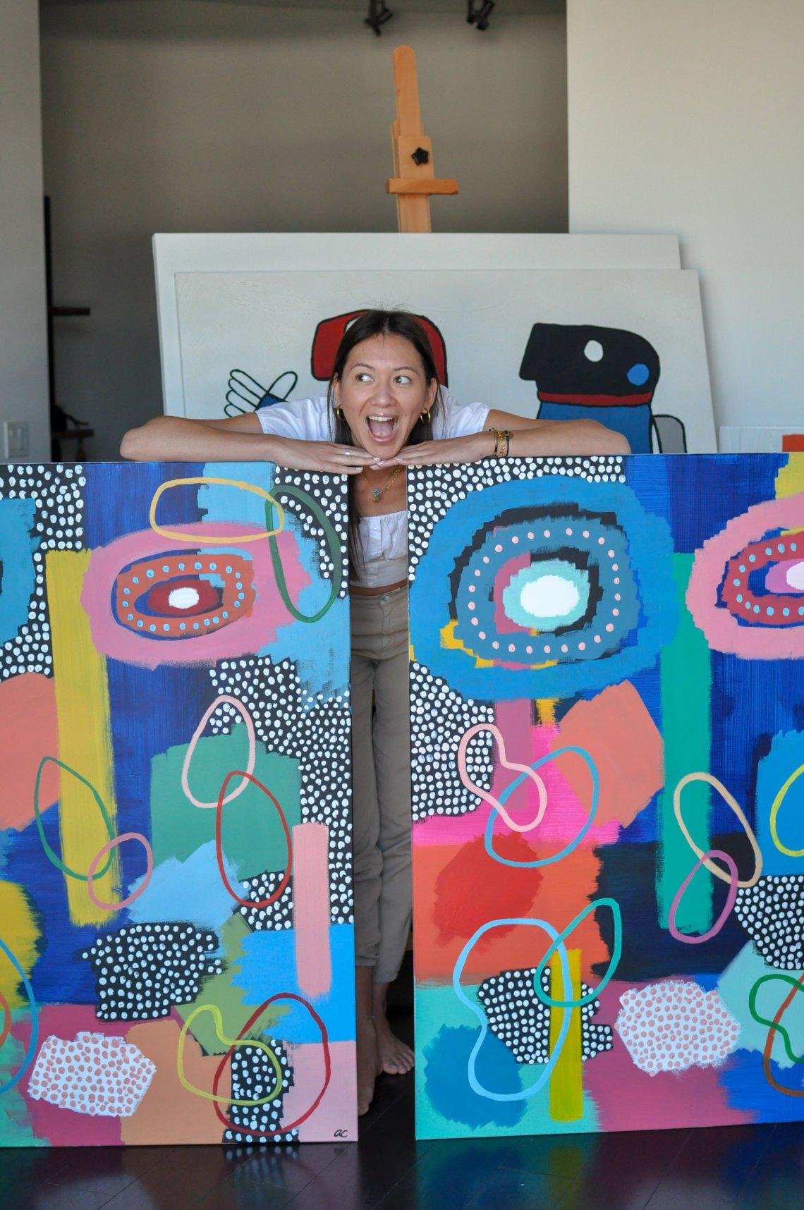 "Alli Conrad with ""Leo"" and ""Louis.""  Acrylic on canvas ."