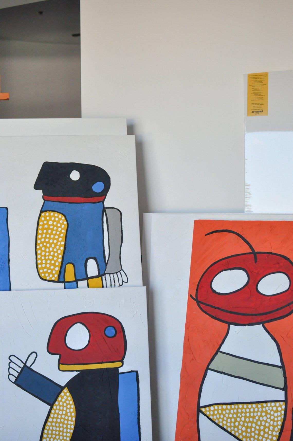 """Poking Series"" 1 & 2.  Acrylic on canvas."