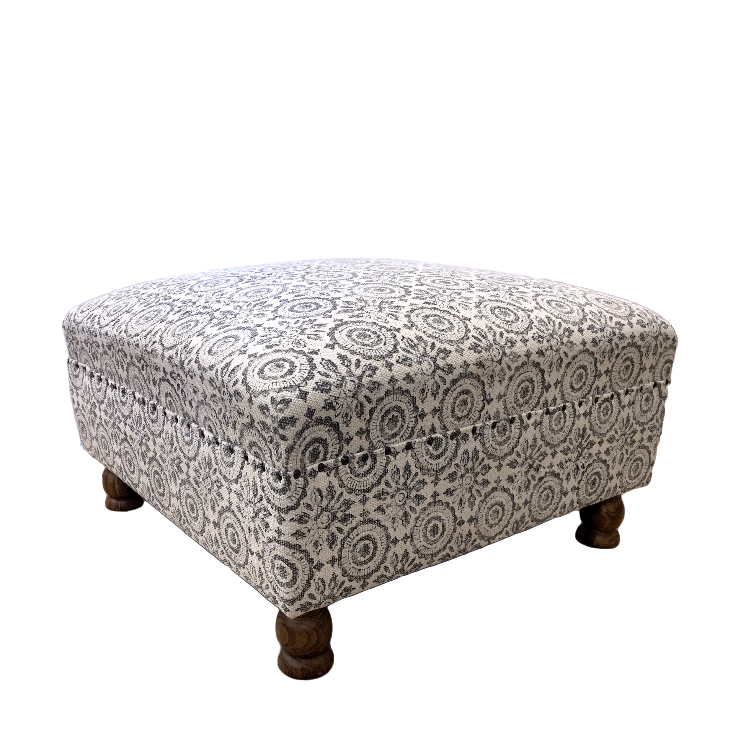 block printed grey upholstered ottoman asia west