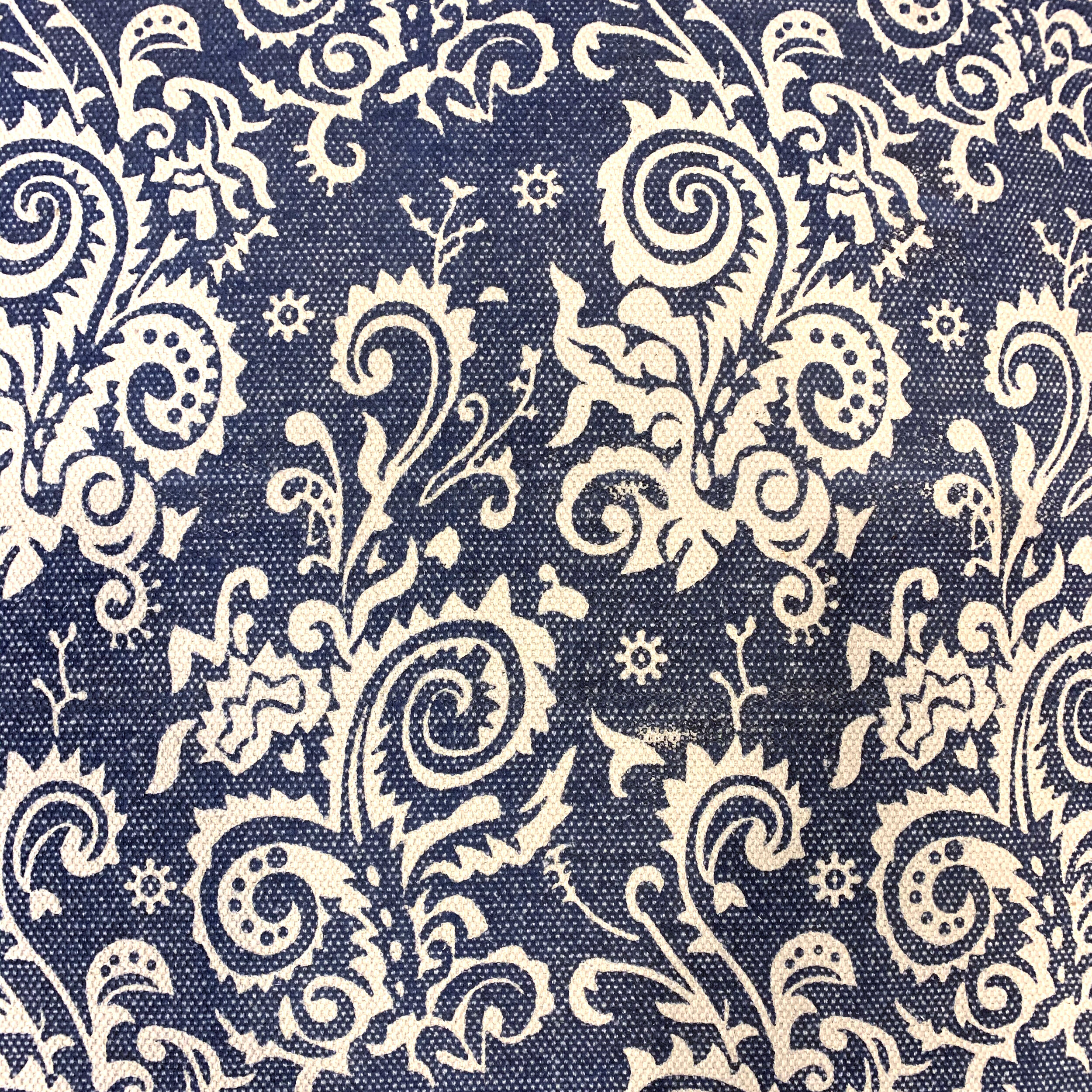 block printed blue upholstered ottoman asia west