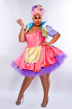 Coco Jumbo wearing a multicoloured dress, one of the queens rumoured to appear on Drag Race Australia