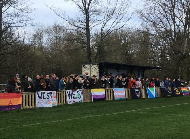 The West ultras packed in behind one of the goals.