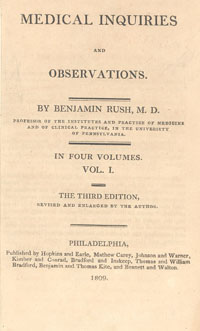 """Image Description: beige cover of old book entitled """"Observations"""" by Benjamin Rush, with """"in four volumes, volume 1"""" printed in the middle, and publication information printed at the bottom."""