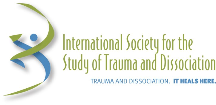 """Image Description: green and blue swirled logo is on the left, with the center and right taken up by slim lettering that reads """"International Society for the Study of Trauma and Dissociation"""" and then in smaller letters beneath that it says """"Trauma and Dissociation. It heals here."""""""