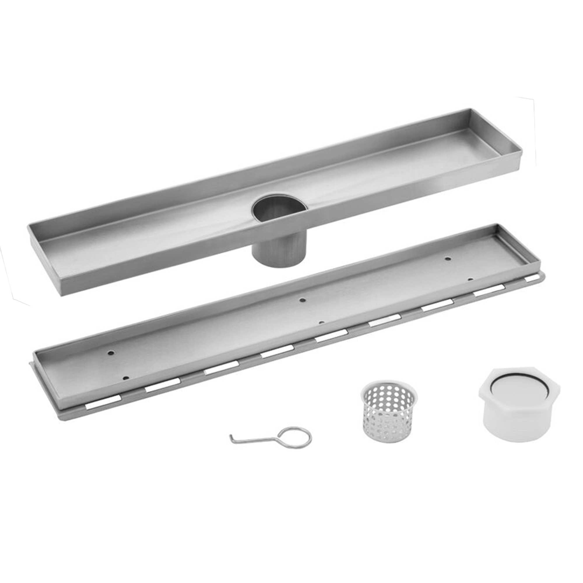 26 in stainless steel tile insert linear shower drain cahaba designs