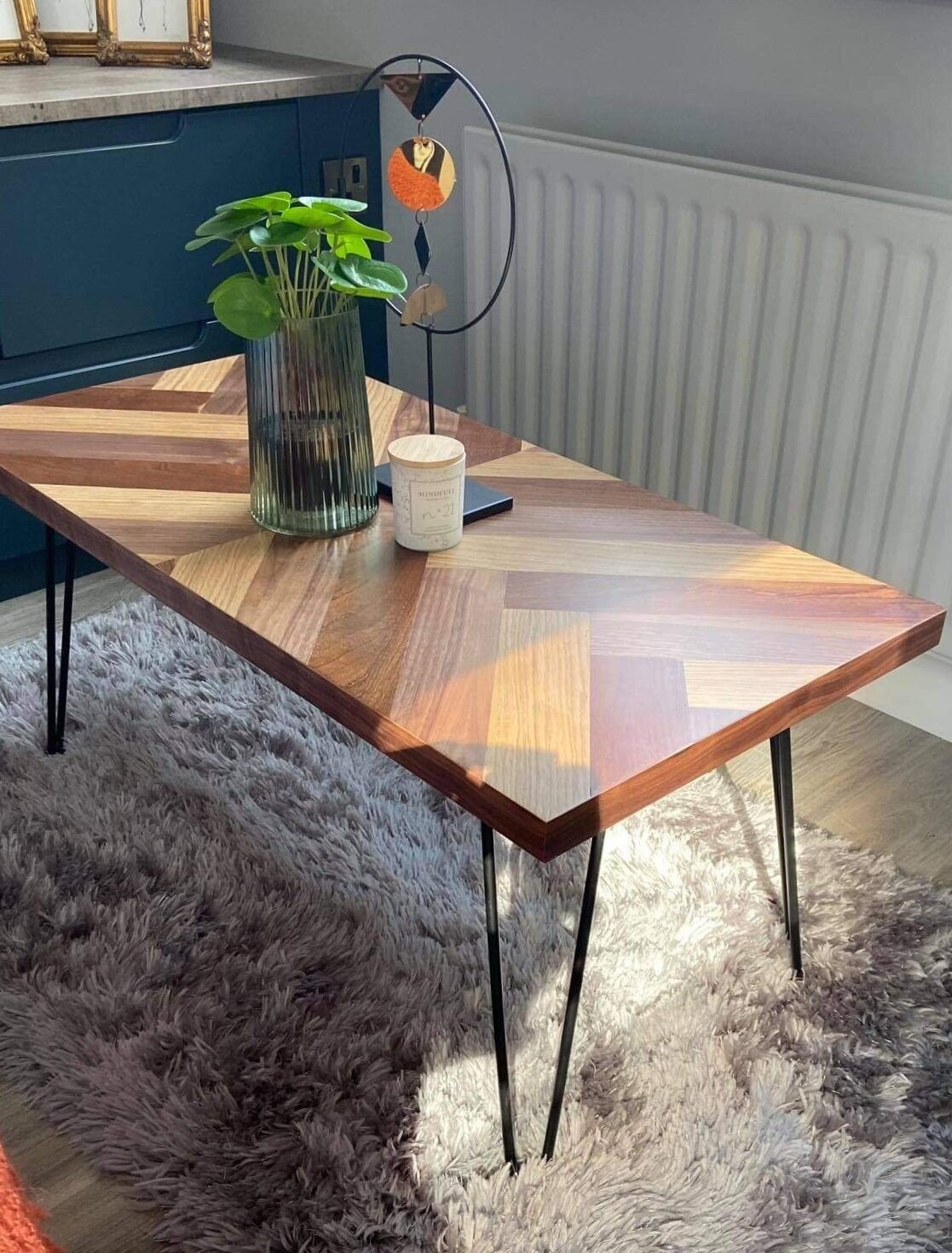 intricate split herringbone top coffee table with black iron legs furniture by penn