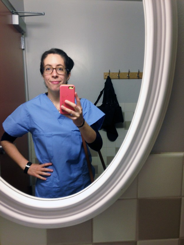 Me in my scrubs during a volunteer shift