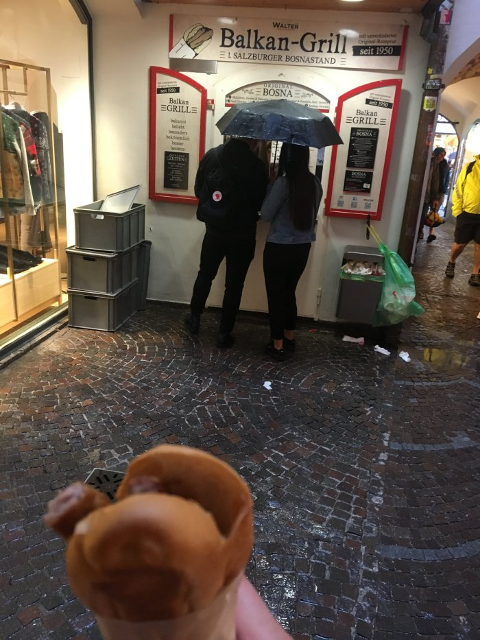 A really wonderful hotdog in Salzburg! Seek it out.