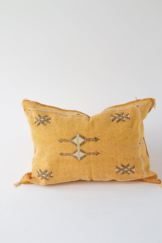 cactus silk mini lumbar cushion mustard parker persia