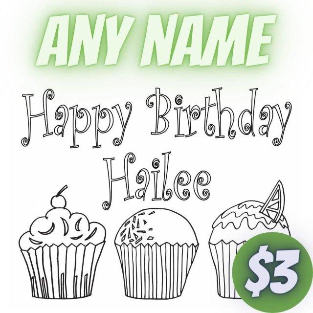 Printable Custom Happy Birthday Coloring Page — Stevie Doodles