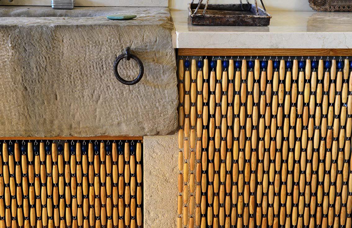 rideaux en perles de buis