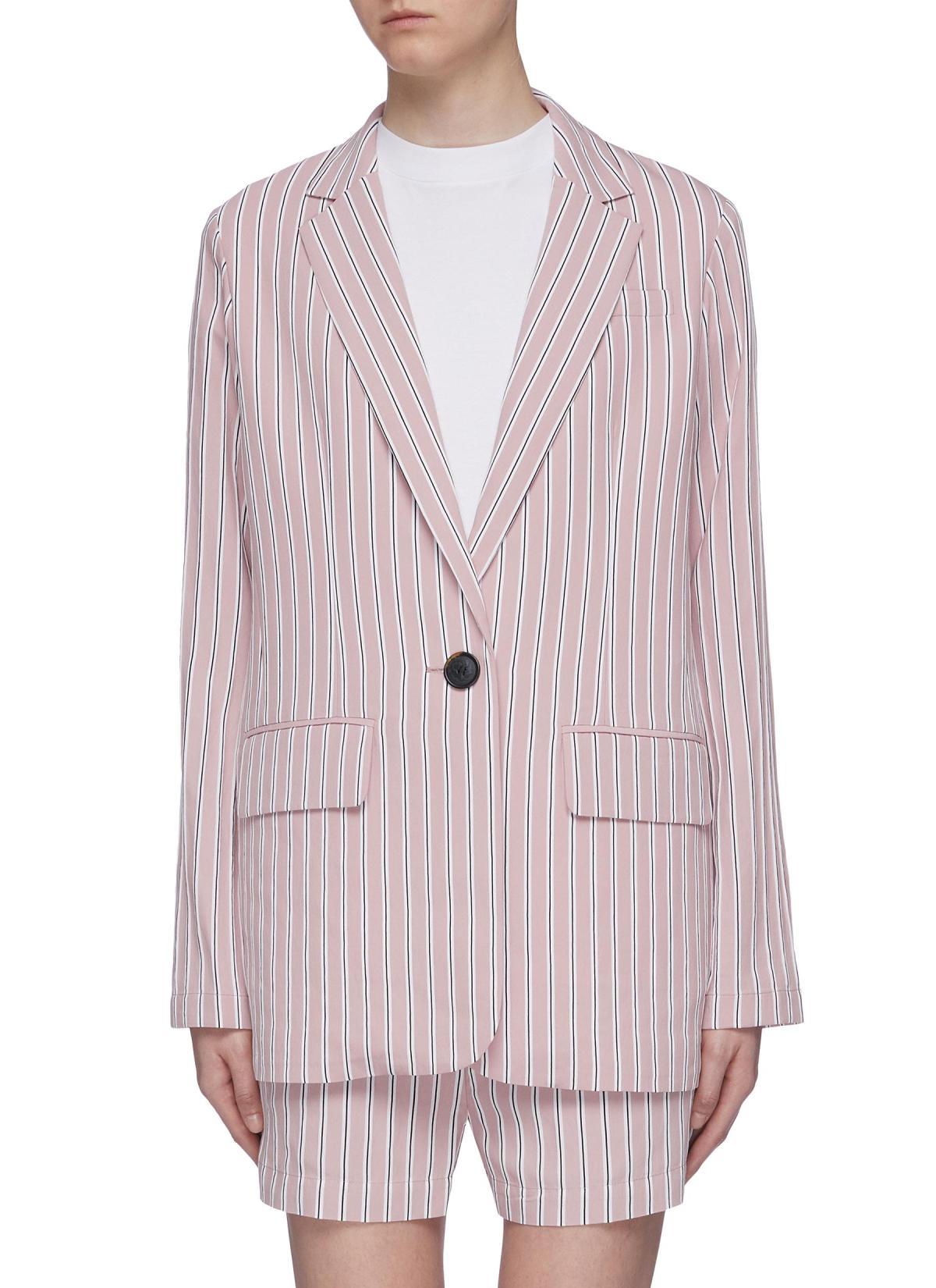 Tibi Curve Hem Stripe Twill Oversized Blazer HKD$5,050